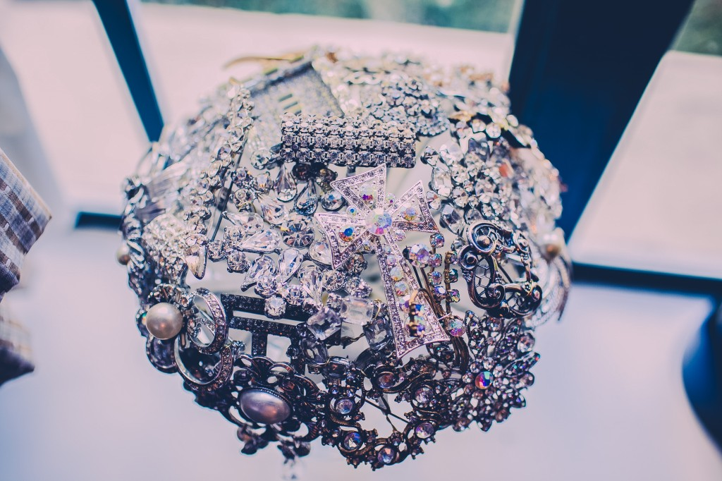 I love this bridal bouquet made out of scrap jewelry.