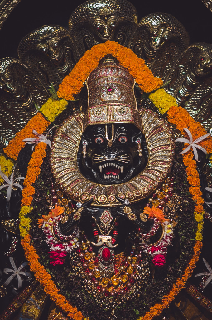 This was taken in Mayapur. Sacred Deity of Narasimhadeva