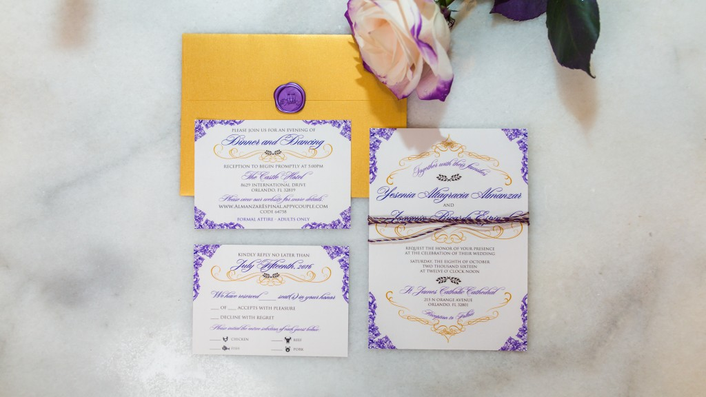 Wedding detail shots of invitations